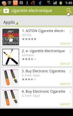 Trouver la boutique de cigarettes électronique ASTON dans Play Store
