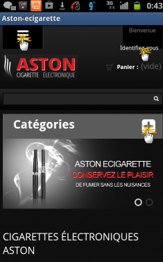 Page d'accueil de l'application ASTON Mobile