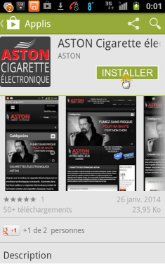 "Effleurer le bonton ""Installer"" pour télécharger l'application ASTON Mobile"