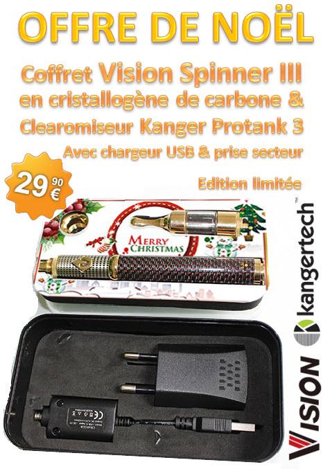 Coffret de Noel comprenant une batterie Vision Spinner et un clearomiseur Protank 3